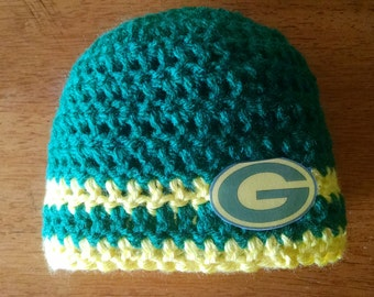 Crocheted Baby's Green Bay Packers Hat