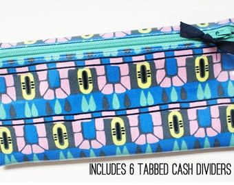 Cash envelope budget wallet, 6 category dividers | blue, navy, aqua, pink, yellow, laminated cotton
