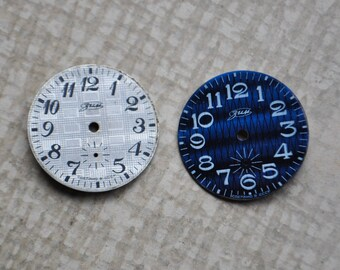 Set of 2 vintage Soviet Russian ZIM wrist watch dials.