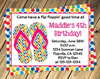 Polka Dot Flip Flop Birthday Party Invitation Prin Your Own