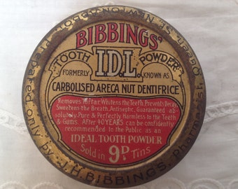 Vintage Bibbings tooth powder container