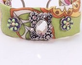 Fabric Bracelet in Bright Flowers with accents