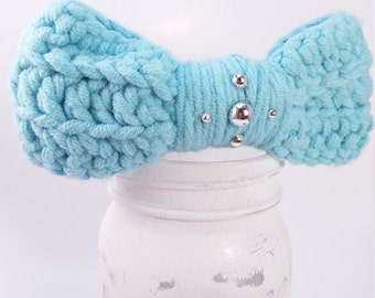 Crochet Bow Clip, hair updo, silvertone,  robins egg blue,  t shirt yarn