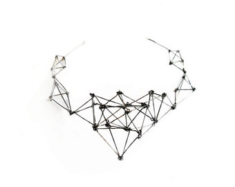 Geometric silver stainless steel statement bib necklace Futuristika