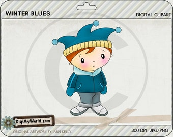 Adorable holiday winter blues boy clipart image for the holidays