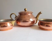 Vintage copper teapot, creamer and sugar bowl by Tagus, with brass handles