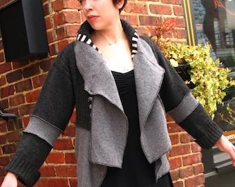Upcycled cashmere angora cardigan sweater jacket black gray wearable art