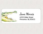 Return Address Labels - Stickers - Personalized - Crocodile - Alligator - Baby Shower - Boy Birthday Party - Jungle