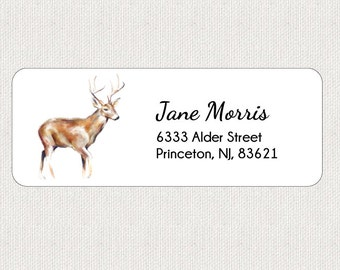 Christmas Return Address Labels - Stickers - Deer - Personalized - Christmas Labels - Holidays - Animal - Whimsical