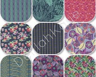 Queen RAG QUILT - Bright Heart Amy Butler- Purple Navy Green Handmade Bedding
