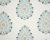 "Two 96"" x 50""  Custom Curtain Panels  - Damask Teardrop - Grey/Blue - NEW"