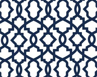 "Two 96"" x 50""  Custom   Curtain Panels -  Trellis - White/Navy Blue"