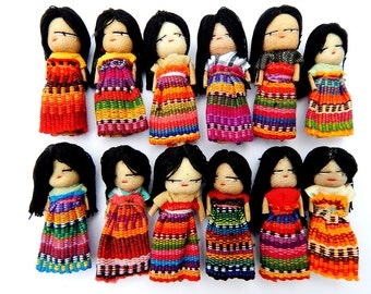 "12 Handmade 2"" Worry Dolls with Hair Made in Guatemala"