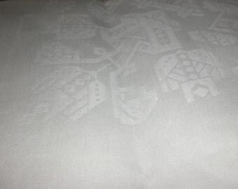 Art Deco Tablecloth White Linen Damask Tablecloth - SALE