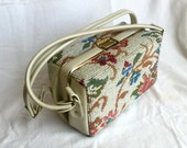Tapestry box bag vintage purse by Dova fat needlepoint BOHO floral design