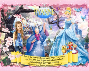 Personalize Cinderella Invitation, Disney Princess Party, Cinderella Birthday Invite