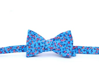 Blue & Red Mini Floral Bow Tie