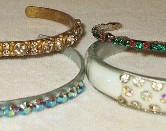 4 Vintage Rhinestone Cuff Bracelets