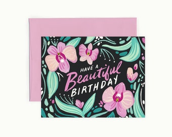 Orchid Beautiful Birthday Greeting Card