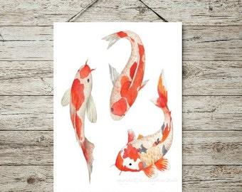 Koi Watercolor Print, Koi Print, Watercolor, Instant Digital Print, Print Download, Digital Print, 8x10 Digital Print, INSTANT DOWNLOAD