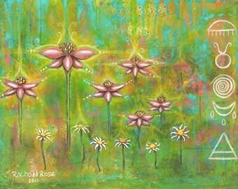 Enlightened Echinacea Rebirth Blessings Mixed Media Garden Rain 11x14  Inch Print