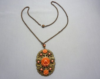 Necklace Antique Victorian Brass Necklace With Glass Coral Flowers