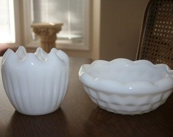 Vintage White Milk Glass Vase and Bowl Set Inner Folding Scalloped Edge Fluted Cottage Romantic Chic