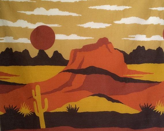 Vintage 70s Fabric Material 1970s Southwestern By Elliemayhems