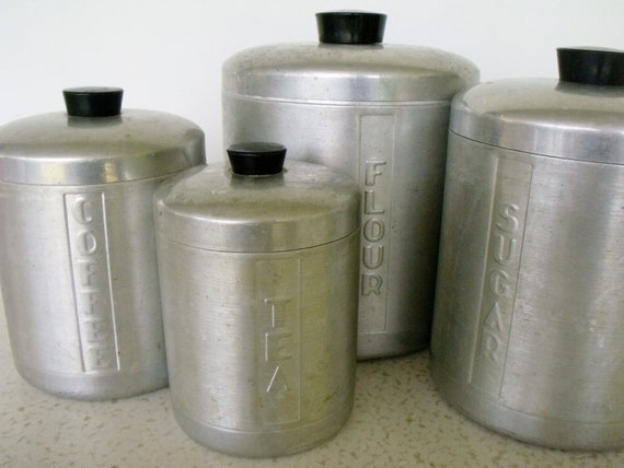 Canister set aluminum 4 vintage kitchen for Kitchen set aluminium