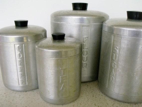 Canister set aluminum 4 vintage kitchen for Kitchen set aluminium
