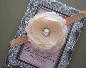 Peach Ranunculus Flower with a Rhinestone Center - 4 inch flower