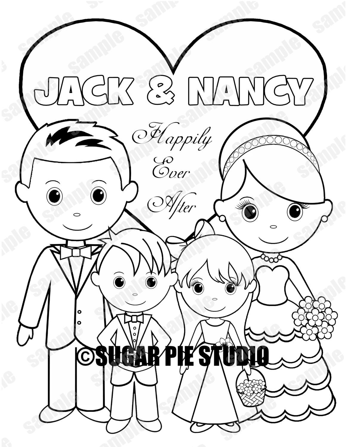 Personalized Childrens Wedding Coloring Activity Book Flower