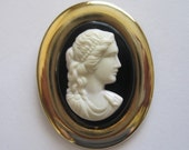 Vintage Cameo - Lucite and Brass Cameo Brooch - Oval Brooch