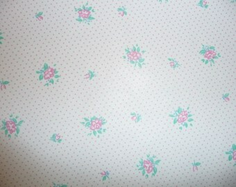 "Leather 12""x12"" THIN Mini Pink Flowers On White LAMBSKIN 1.5 oz / .6 mm PeggySueAlso™ E2176-06"