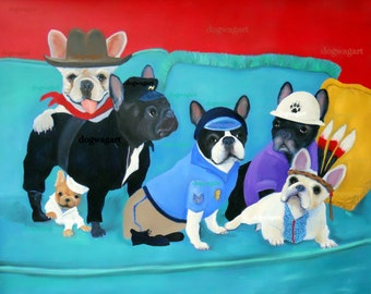 "French Bulldog Art Print of an original oil painting -""The Village Frenchies"" / 8 x 10 /Dog Art"