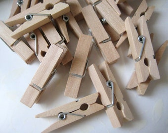 36 Small Wooden Clothespins for Wedding Favors, Scrapbooking, Party Favors, Embellishment, Gift Tags, 1.25""