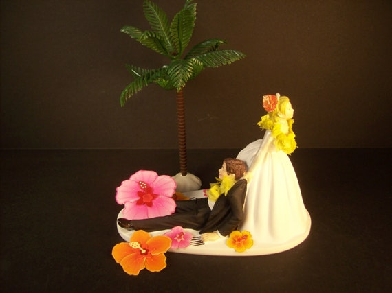 tropical wedding cake toppers tropical wedding cake topper with palm tree and hibiscus 21280
