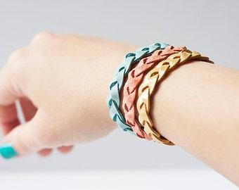 Braided Leather Bracelet Trio / Coastal Breeze