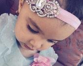 Baby Headband, glitter elastic headband, Fancy rhinestone,Baby Girl Princess headband , Baptism,