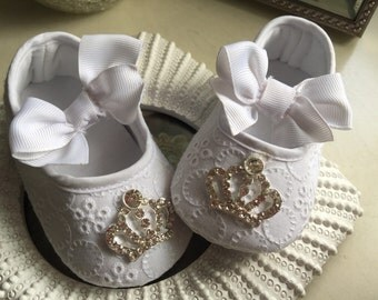 Princess Baby Girl  white Crib Shoes  ,Baby Shoes,Christening, Baptism, Wedding, Ready to ship