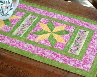 Summer Quilted Table Runner , Table Topper, Pink Green, Table Quilt, Quiltsy Handmade