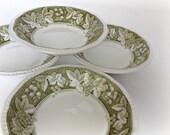 Cereal Bowls Kensington Staffordshire Ironstone Somerset Green Vintage Dinnerware Dishes