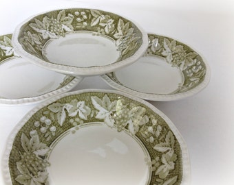 Cereal Bowls Kensington Staffordshire Ironstone Somerset Green Vintage Dinnerware Dishes