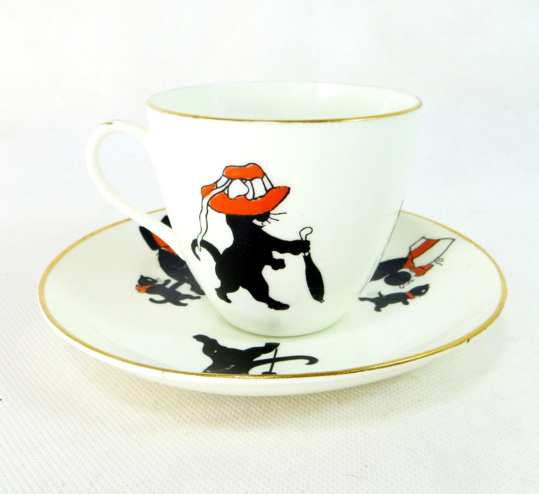 art deco cat cup  u0026 saucer rare vintage allertons cartoon