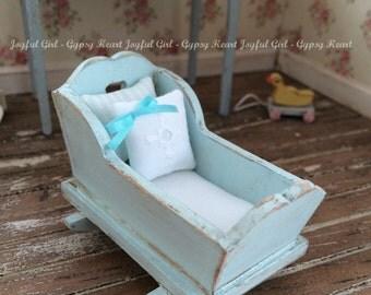 Shabby Dollhouse Pale Blue Wooden Cradle 1:12 Scale Handpainted Miniature