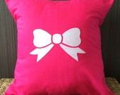 """16"""" X 16"""" Bow Pillow Cover in Felt and Cotton Twill 