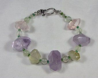 Quartz Crystal Bracelet With Rose, Lemon, Amethyst  Quartz, Prehnite