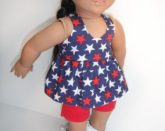 Trendy Stars 18 Inch Doll Clothes AG July 4th Camisole USA Ruffled Top White Stars Blue Background Also Fits Similiar 18 Inch Dolls