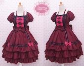 Red Maroon Black Gothic Lolita Dress Sabrina Sleeve, Gothic Dress, Victorian Dress, Princess Dress, Helloween Dress, Party Dress, Long Dress