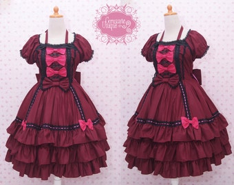 Red Maroon Black Gothic Lolita Dress Sabrina Sleeve, Gothic Dress, Victorian Dress, Princess Dress, Helloween Dress, Party Dress, Long Dress